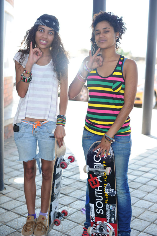 Girls Skateboarding in South Africa